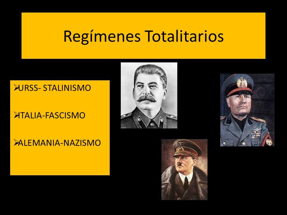 Regímenes Totalitarios URSS- STALINISMO ITALIA-FASCISMO ALEMANIA-NAZISMO