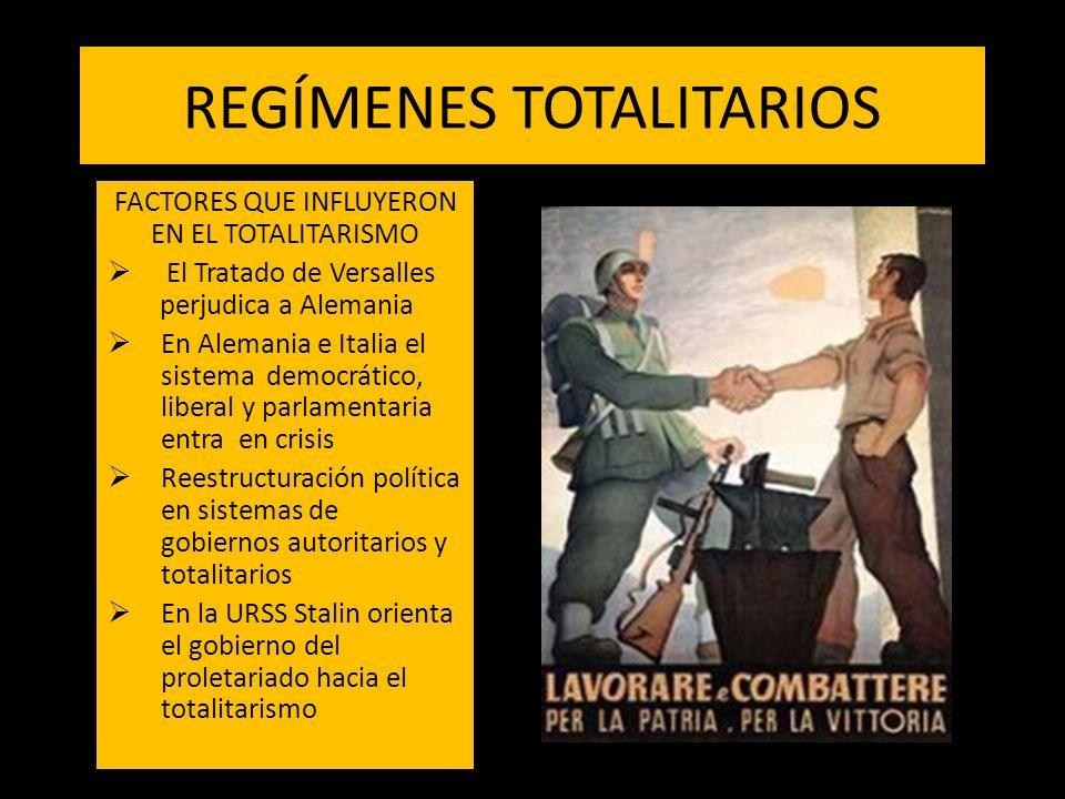 REGÍMENES TOTALITARIOS FACTORES QUE INFLUYERON EN EL TOTALITARISMO El Tratado de Versalles perjudica a Alemania En Alemania e Italia el sistema democr