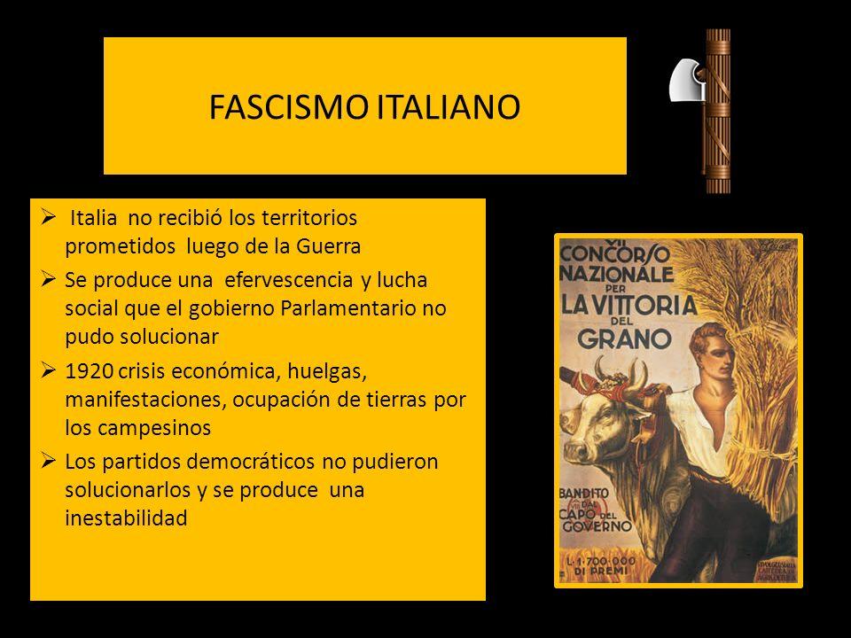 FASCISMO ITALIANO Italia no recibió los territorios prometidos luego de la Guerra Se produce una efervescencia y lucha social que el gobierno Parlamen