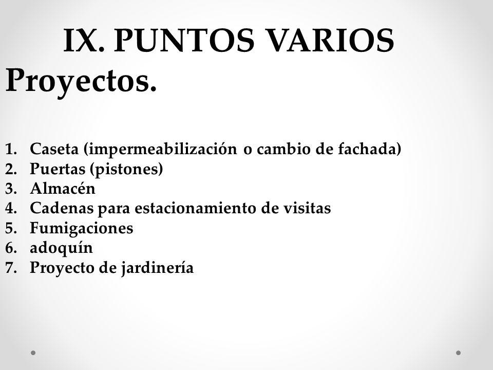 IX. PUNTOS VARIOS Proyectos.