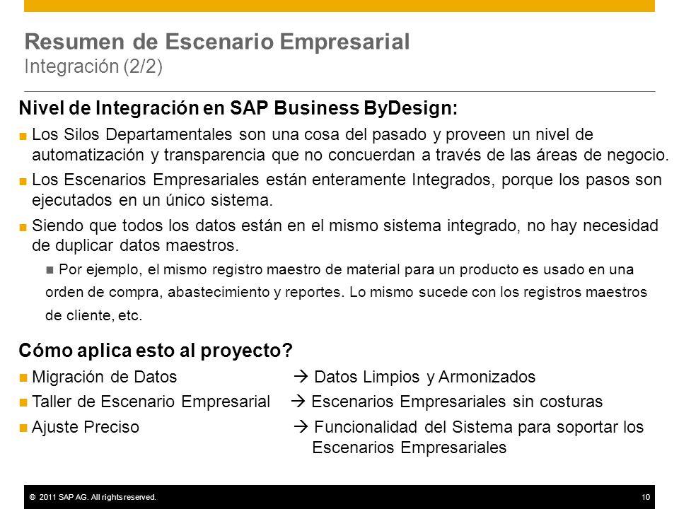 ©2011 SAP AG. All rights reserved.10 Resumen de Escenario Empresarial Integración (2/2) Nivel de Integración en SAP Business ByDesign: Los Silos Depar