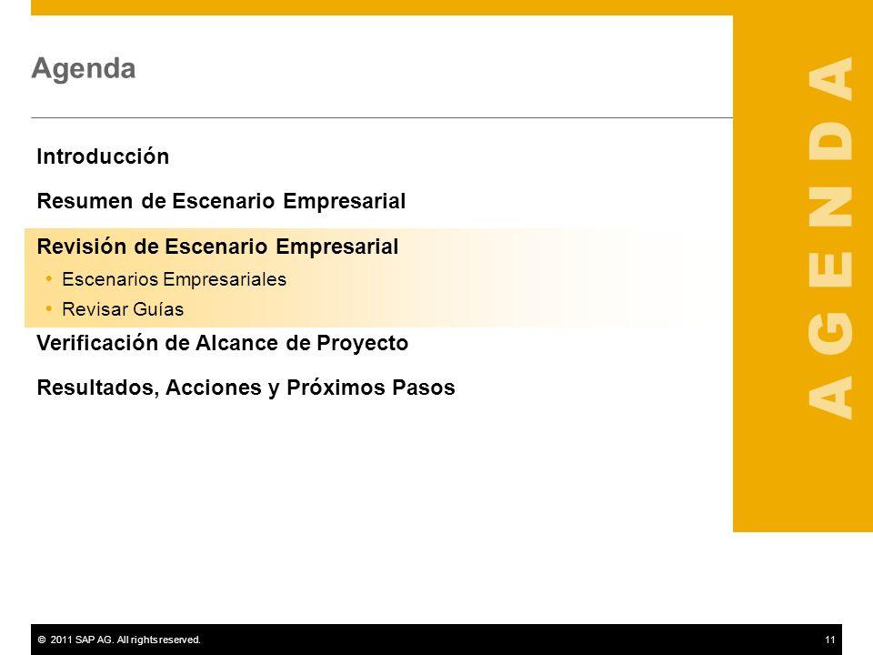©2011 SAP AG. All rights reserved.11 Agenda Introducción Resumen de Escenario Empresarial Revisión de Escenario Empresarial Escenarios Empresariales R