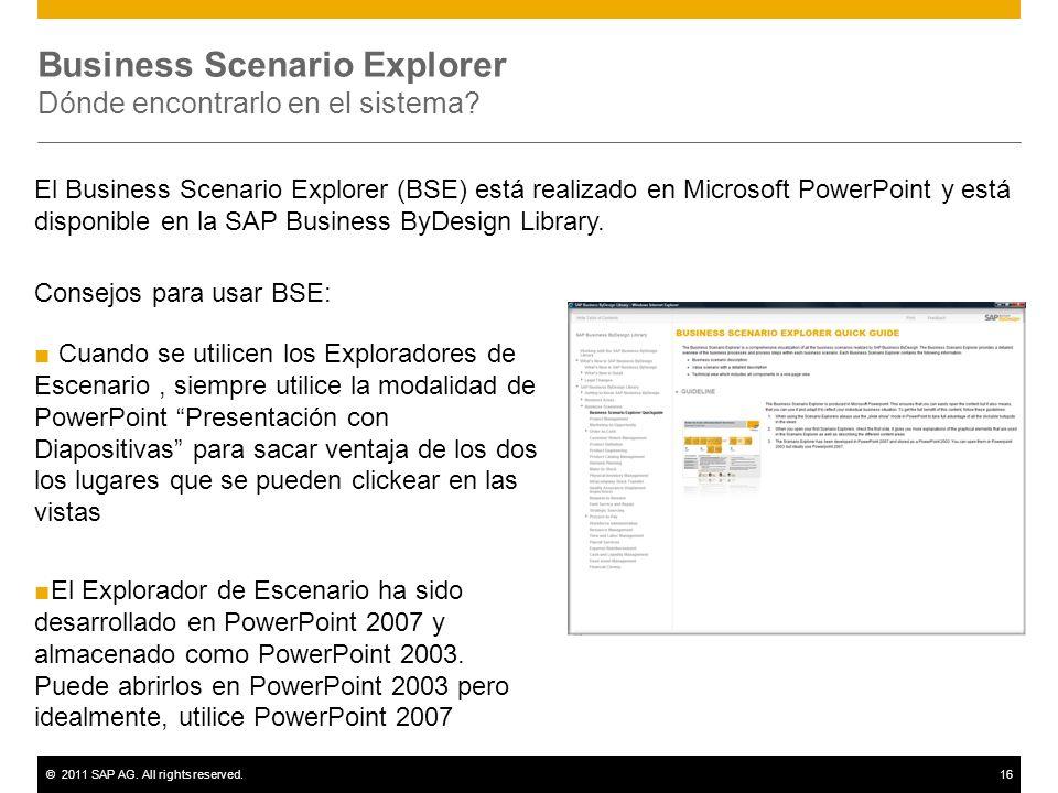 ©2011 SAP AG. All rights reserved.16 Business Scenario Explorer Dónde encontrarlo en el sistema? Consejos para usar BSE: Cuando se utilicen los Explor