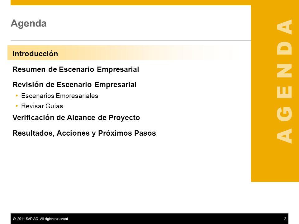 ©2011 SAP AG. All rights reserved.2 Agenda Introducción Resumen de Escenario Empresarial Revisión de Escenario Empresarial Escenarios Empresariales Re