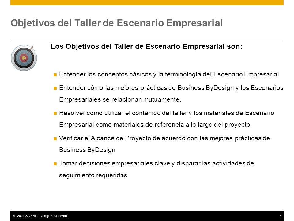 ©2011 SAP AG. All rights reserved.3 Objetivos del Taller de Escenario Empresarial Los Objetivos del Taller de Escenario Empresarial son: Entender los