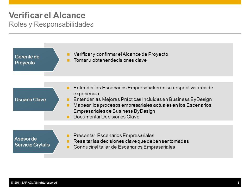 ©2011 SAP AG. All rights reserved.6 Verificar el Alcance Roles y Responsabilidades Asesor de Servicio Crytalis Usuario Clave Gerente de Proyecto Verif