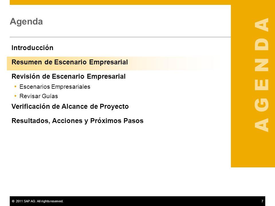 ©2011 SAP AG. All rights reserved.7 Agenda Introducción Resumen de Escenario Empresarial Revisión de Escenario Empresarial Escenarios Empresariales Re