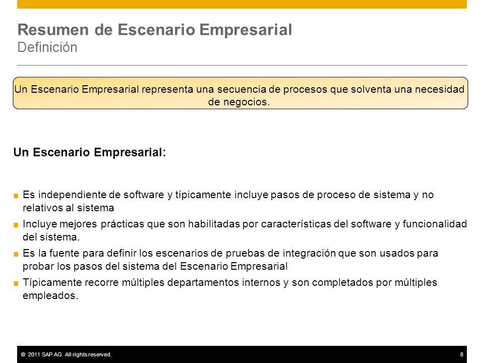 ©2011 SAP AG. All rights reserved.8 Resumen de Escenario Empresarial Definición Un Escenario Empresarial: Es independiente de software y típicamente i