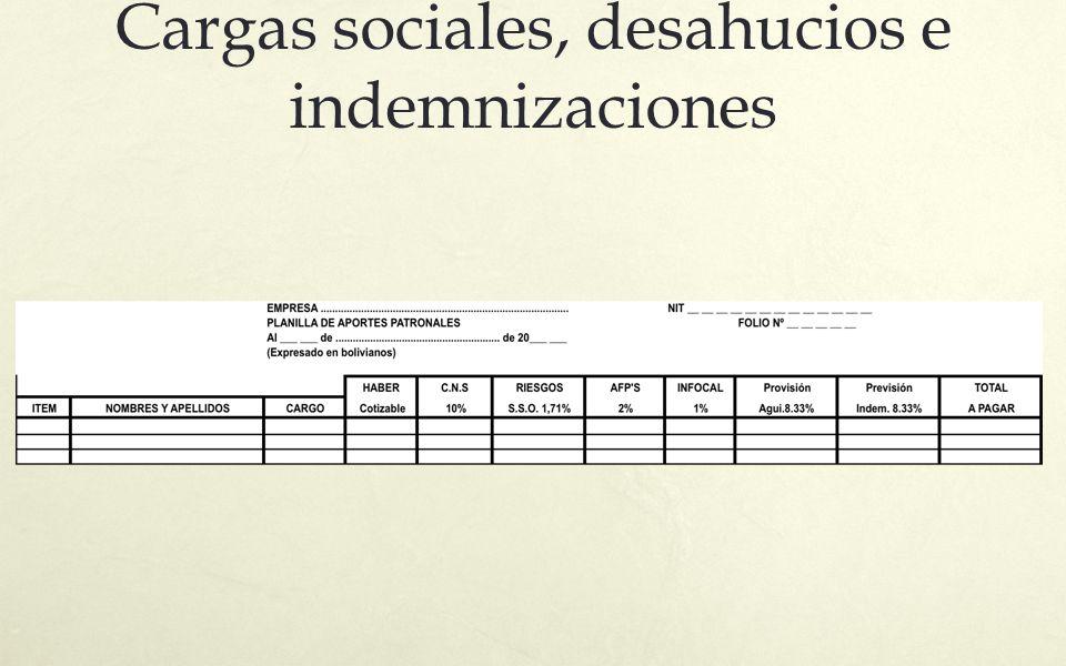 Cargas sociales, desahucios e indemnizaciones