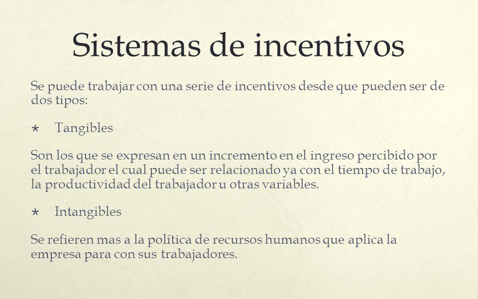 Sistemas de incentivos Se puede trabajar con una serie de incentivos desde que pueden ser de dos tipos: Tangibles Son los que se expresan en un increm