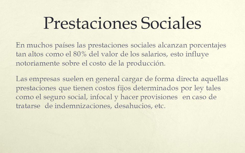 Prestaciones Sociales En muchos países las prestaciones sociales alcanzan porcentajes tan altos como el 80% del valor de los salarios, esto influye no