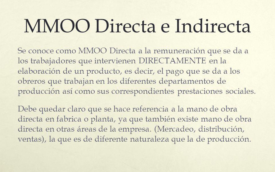 MMOO Directa e Indirecta Se conoce como MMOO Directa a la remuneración que se da a los trabajadores que intervienen DIRECTAMENTE en la elaboración de