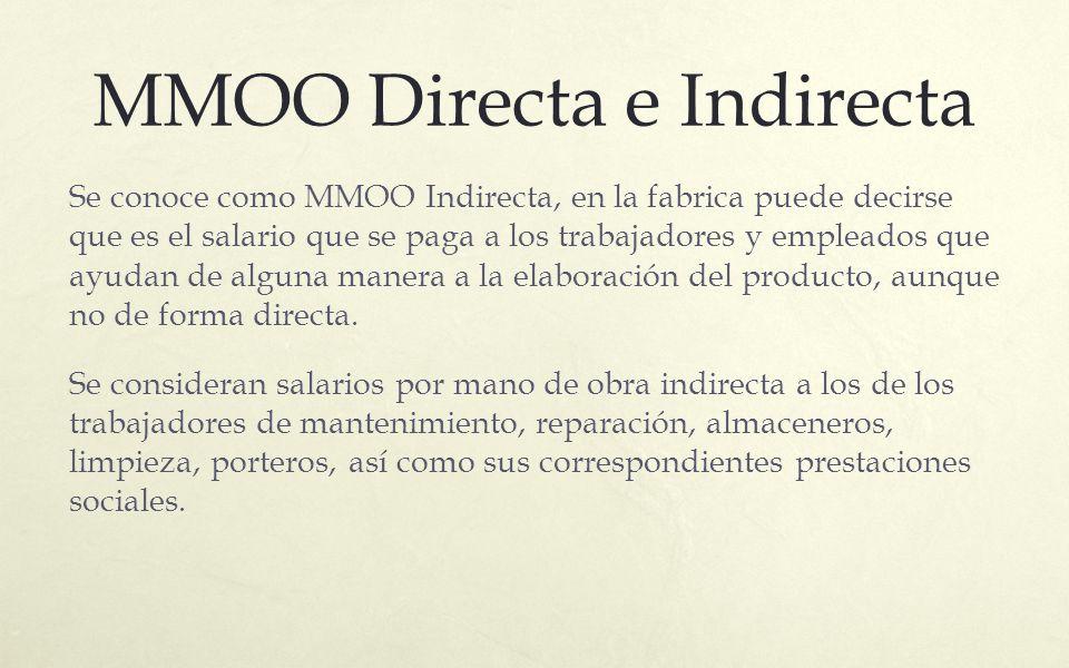 MMOO Directa e Indirecta Se conoce como MMOO Indirecta, en la fabrica puede decirse que es el salario que se paga a los trabajadores y empleados que a