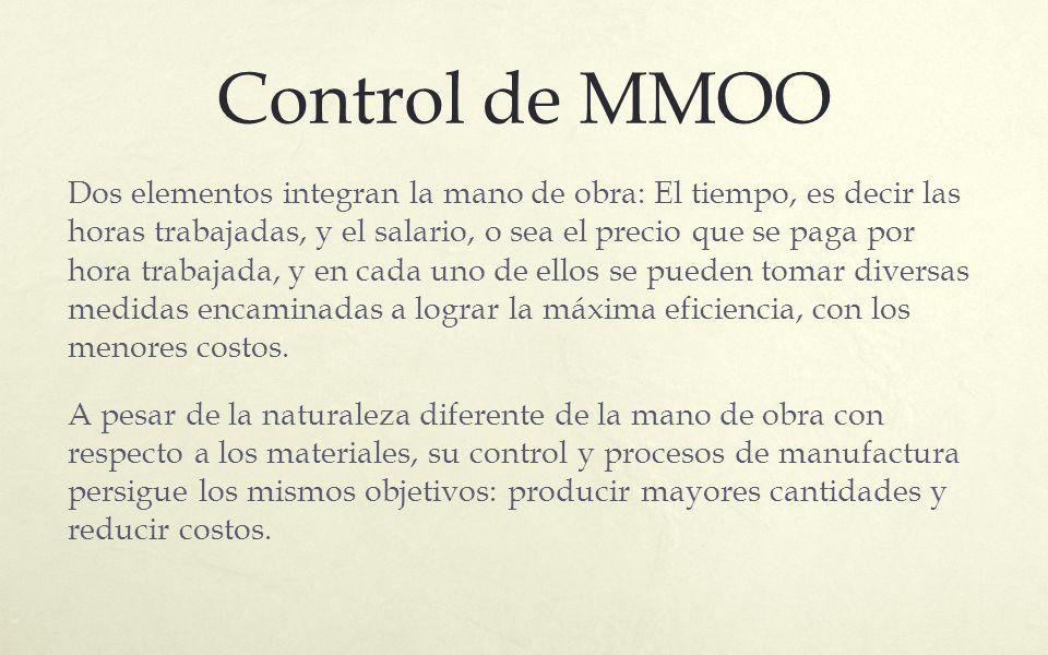 Control de MMOO Dos elementos integran la mano de obra: El tiempo, es decir las horas trabajadas, y el salario, o sea el precio que se paga por hora t