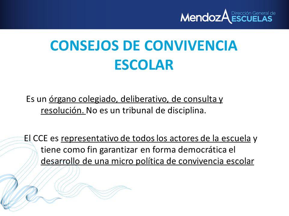 CONSEJOS DE CONVIVENCIA ESCOLAR Es un órgano colegiado, deliberativo, de consulta y resolución. No es un tribunal de disciplina. El CCE es representat