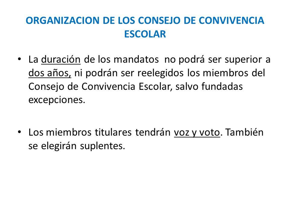 ORGANIZACION DE LOS CONSEJO DE CONVIVENCIA ESCOLAR La duración de los mandatos no podrá ser superior a dos años, ni podrán ser reelegidos los miembros