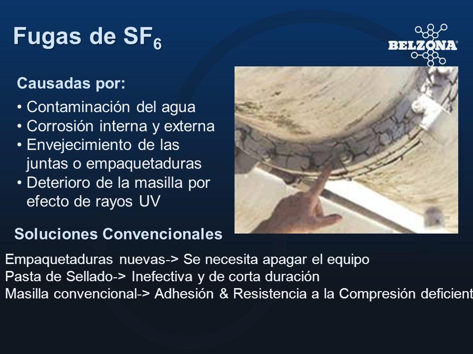 Fugas de SF 6 Soluciones Convencionales Empaquetaduras nuevas-> Se necesita apagar el equipo Pasta de Sellado-> Inefectiva y de corta duración Masilla
