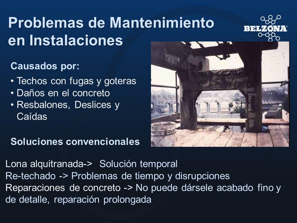 Problemas de Mantenimiento en Instalaciones Soluciones convencionales Lona alquitranada-> Solución temporal Re-techado -> Problemas de tiempo y disrup