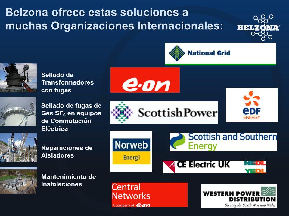 Belzona ofrece estas soluciones a muchas Organizaciones Internacionales: Sellado de Transformadores con fugas Sellado de fugas de Gas SF 6 en equipos