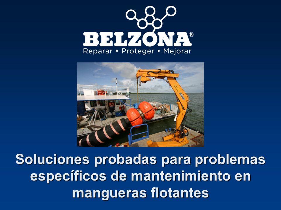 Belzona repara manguera flotante dañada Empresa Compañía offshore, Reino Unido Problema La exposición al agua de mar ha ocasionado que el acero se corroyera y rasgara el revestimiento protector de goma, haciendo que se despegase.