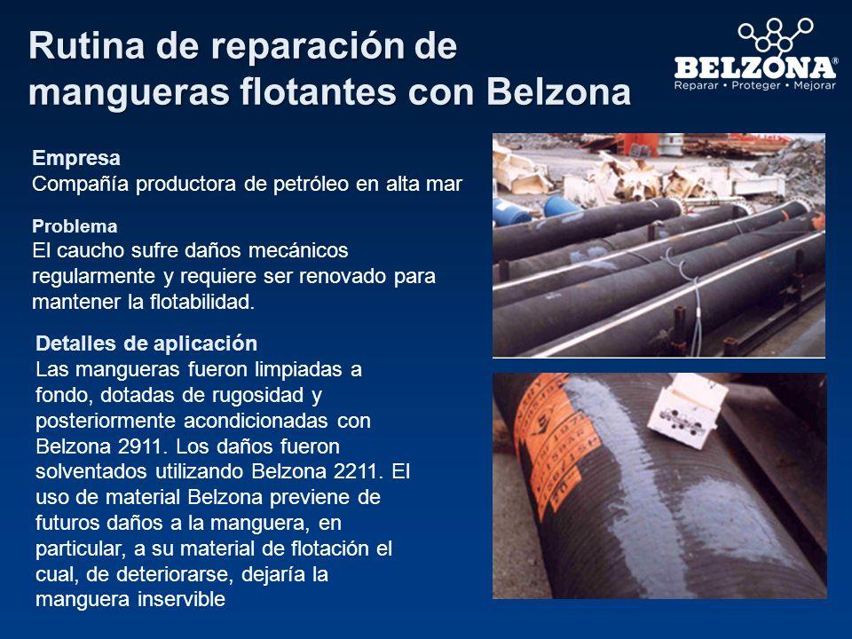 Rutina de reparación de mangueras flotantes con Belzona Empresa Compañía productora de petróleo en alta mar Problema El caucho sufre daños mecánicos r