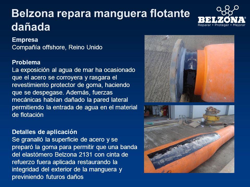 Belzona repara manguera flotante dañada Empresa Compañía offshore, Reino Unido Problema La exposición al agua de mar ha ocasionado que el acero se cor