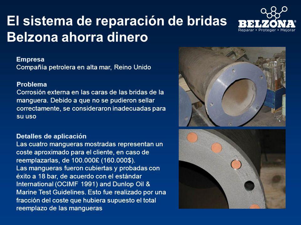 El sistema de reparación de bridas Belzona ahorra dinero Empresa Compañía petrolera en alta mar, Reino Unido Problema Corrosión externa en las caras d