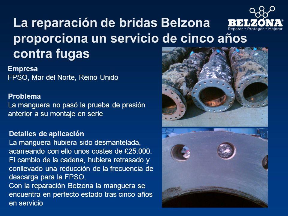 La reparación de bridas Belzona proporciona un servicio de cinco años contra fugas Empresa FPSO, Mar del Norte, Reino Unido Problema La manguera no pa