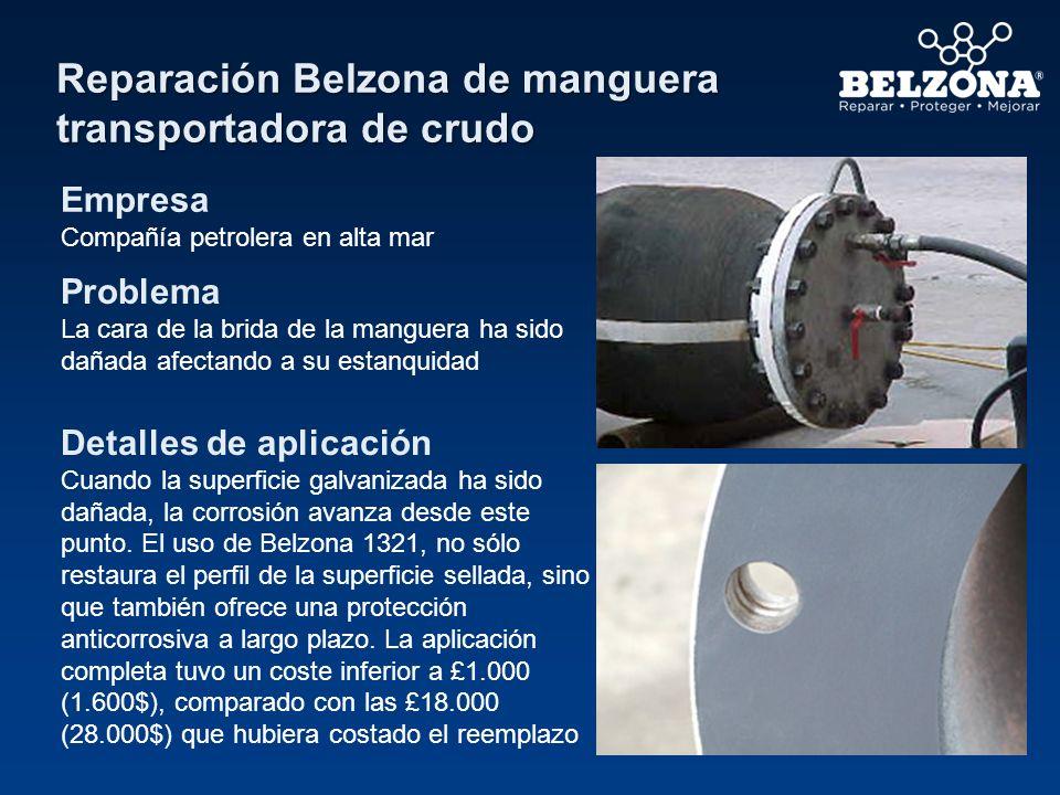 Reparación Belzona de manguera transportadora de crudo Empresa Compañía petrolera en alta mar Problema La cara de la brida de la manguera ha sido daña