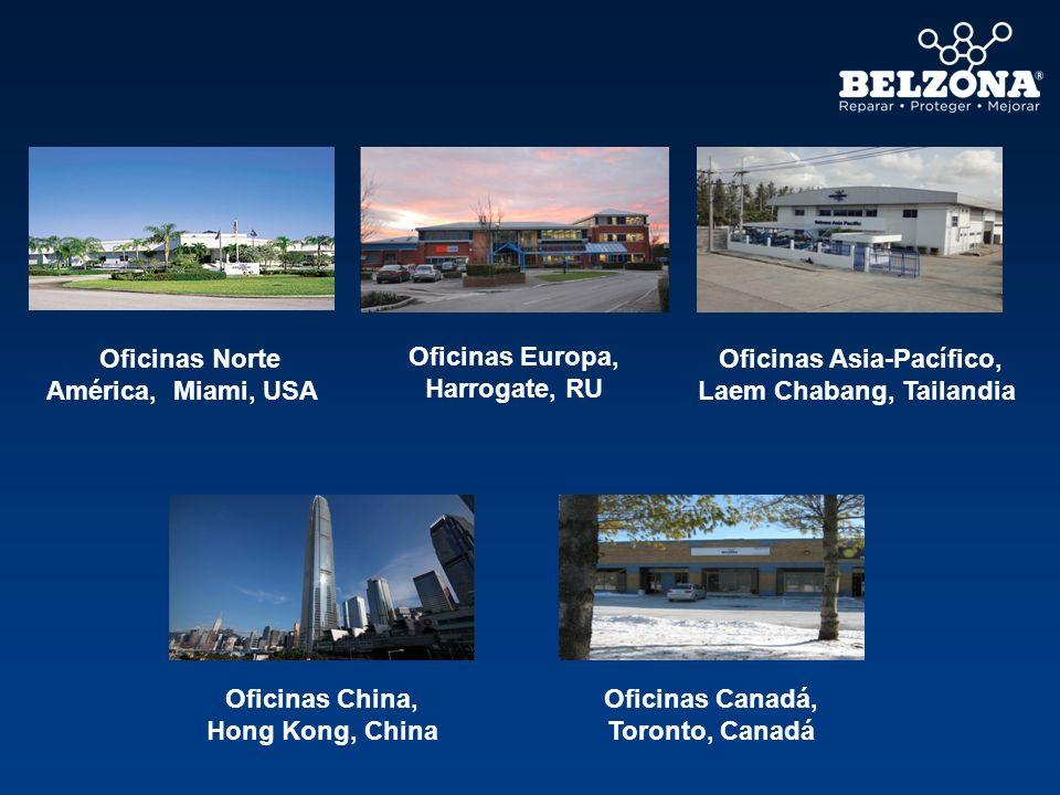 Oficinas Norte América, Miami, USA Oficinas Asia-Pacífico, Laem Chabang, Tailandia Oficinas Canadá, Toronto, Canadá Oficinas China, Hong Kong, China O