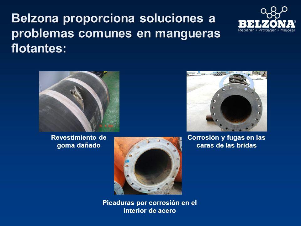 Belzona proporciona soluciones a problemas comunes en mangueras flotantes: Revestimiento de goma dañado Corrosión y fugas en las caras de las bridas P