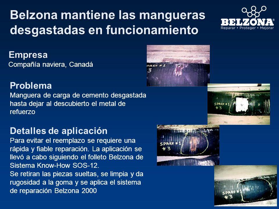 Belzona repara mangueras flotantes Empresa Compañía petrolera Problema Daños extensivos en la goma Detalles de aplicación La aplicación fue llevada a cabo utilizando una versión modificada del folleto Belzona® de Sistema Know-How SOS-12.