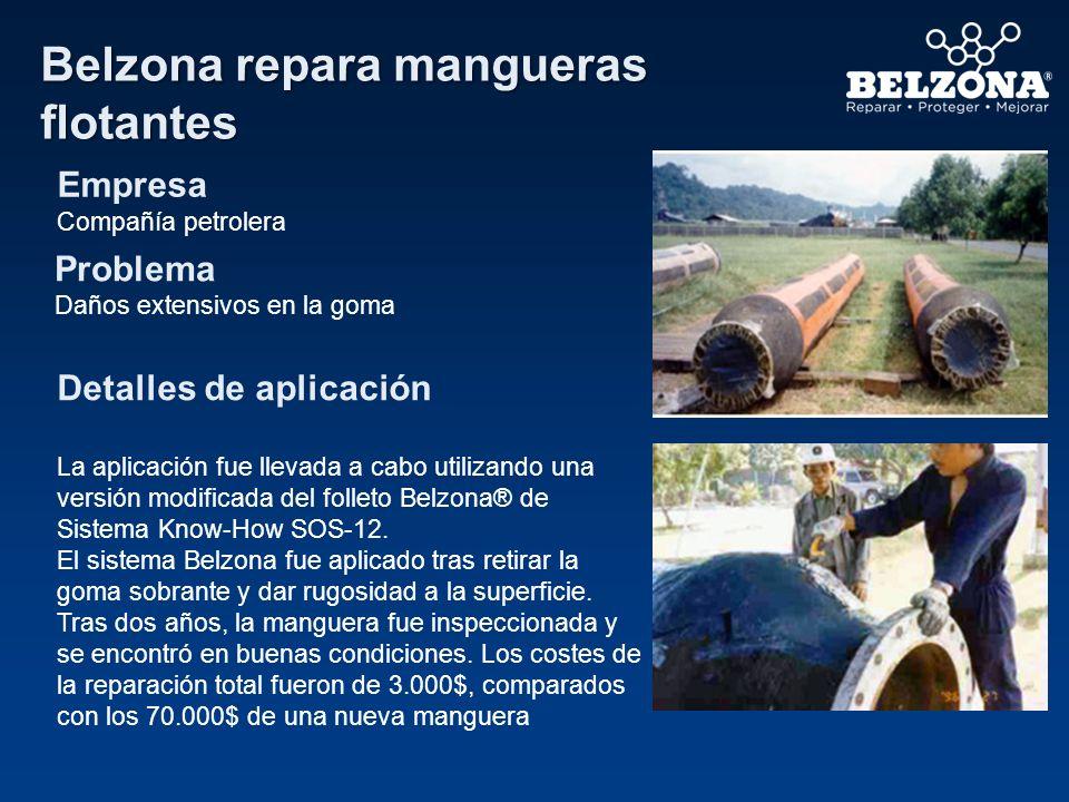Belzona repara mangueras flotantes Empresa Compañía petrolera Problema Daños extensivos en la goma Detalles de aplicación La aplicación fue llevada a