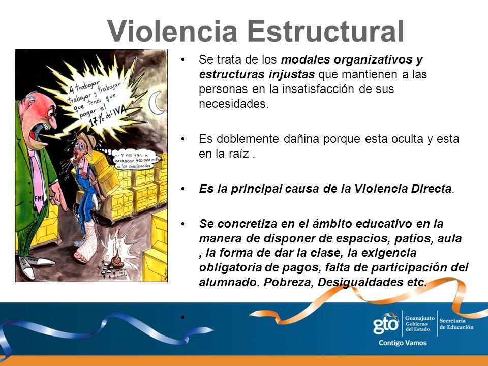 Violencia Estructural Se trata de los modales organizativos y estructuras injustas que mantienen a las personas en la insatisfacción de sus necesidade