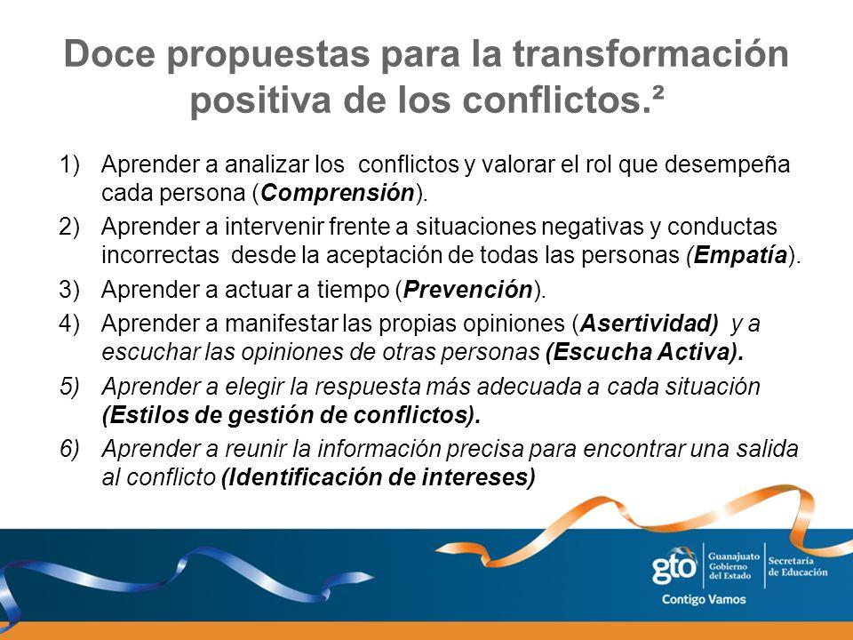 Doce propuestas para la transformación positiva de los conflictos.² 1)Aprender a analizar los conflictos y valorar el rol que desempeña cada persona (