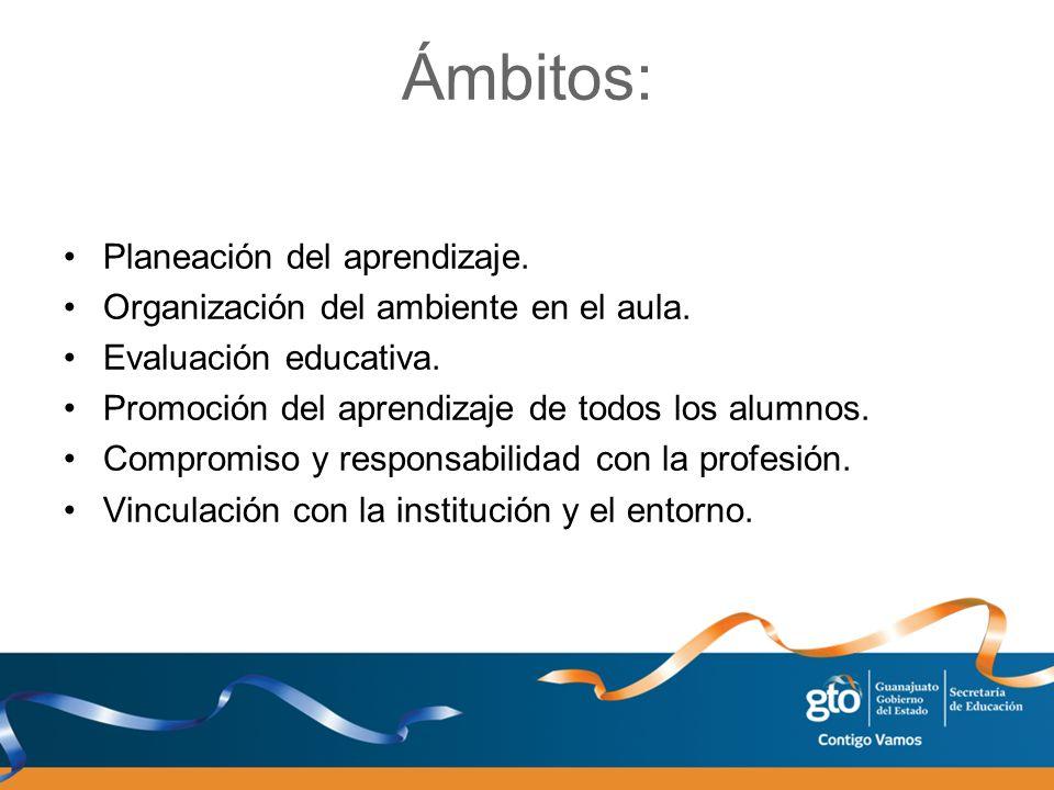 Ámbitos: Planeación del aprendizaje. Organización del ambiente en el aula. Evaluación educativa. Promoción del aprendizaje de todos los alumnos. Compr