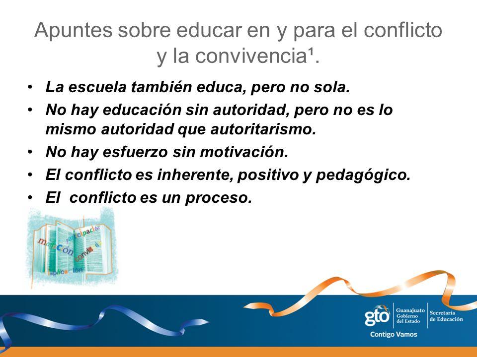 Apuntes sobre educar en y para el conflicto y la convivencia¹. La escuela también educa, pero no sola. No hay educación sin autoridad, pero no es lo m
