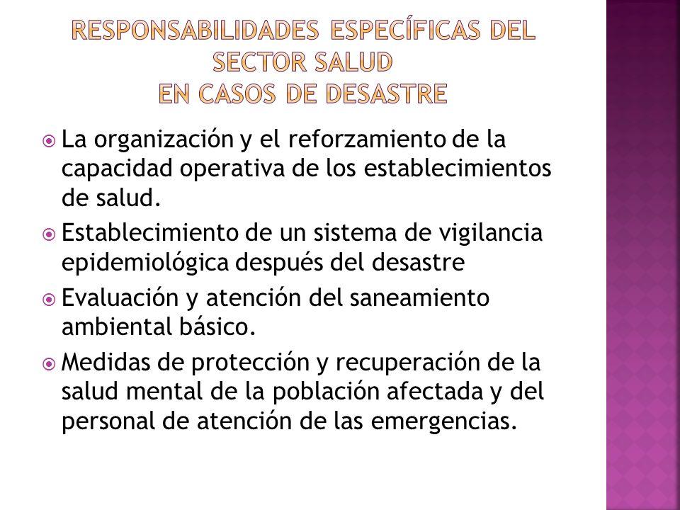 La organización y el reforzamiento de la capacidad operativa de los establecimientos de salud. Establecimiento de un sistema de vigilancia epidemiológ