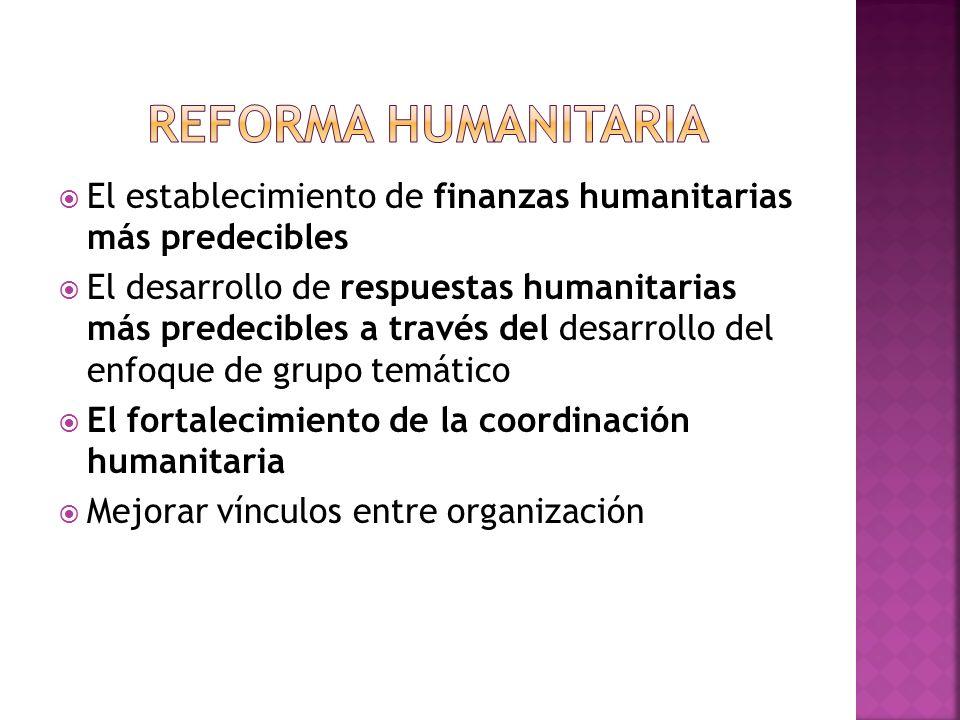 El establecimiento de finanzas humanitarias más predecibles El desarrollo de respuestas humanitarias más predecibles a través del desarrollo del enfoq