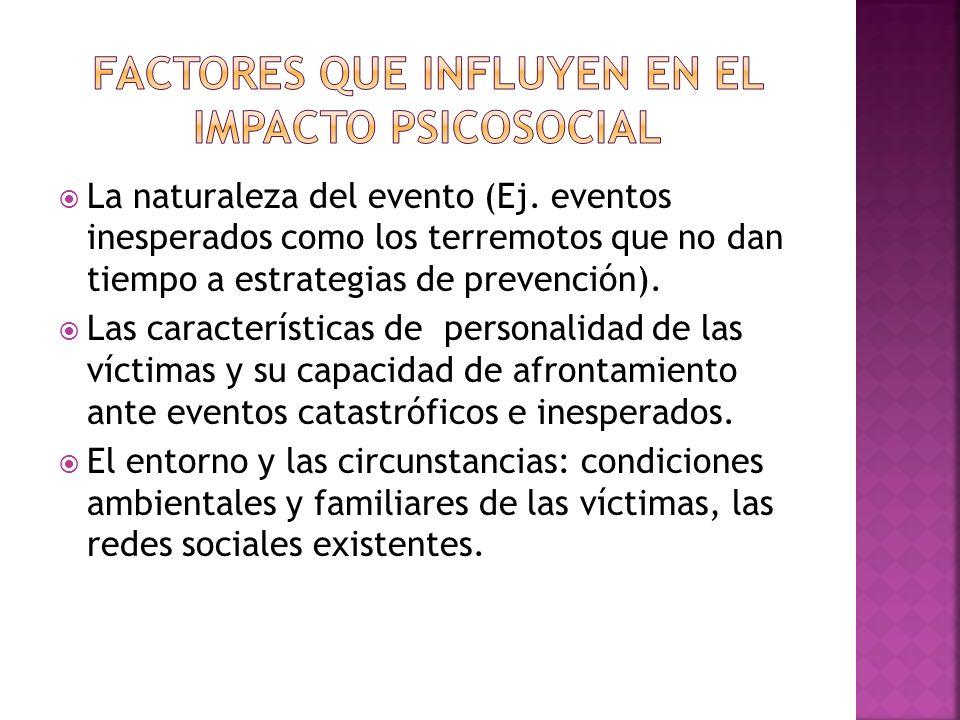 La naturaleza del evento (Ej. eventos inesperados como los terremotos que no dan tiempo a estrategias de prevención). Las características de personali