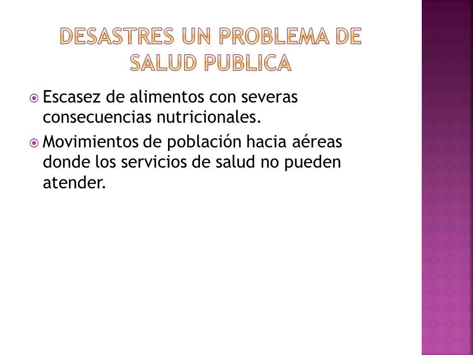 Escasez de alimentos con severas consecuencias nutricionales. Movimientos de población hacia aéreas donde los servicios de salud no pueden atender.
