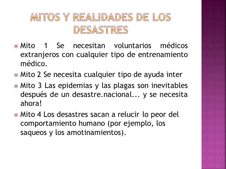 Mito 1 Se necesitan voluntarios médicos extranjeros con cualquier tipo de entrenamiento médico. Mito 2 Se necesita cualquier tipo de ayuda inter Mito