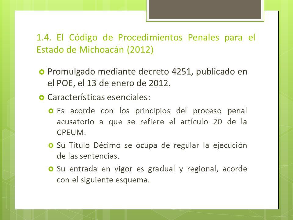1.4. El Código de Procedimientos Penales para el Estado de Michoacán (2012) Promulgado mediante decreto 4251, publicado en el POE, el 13 de enero de 2