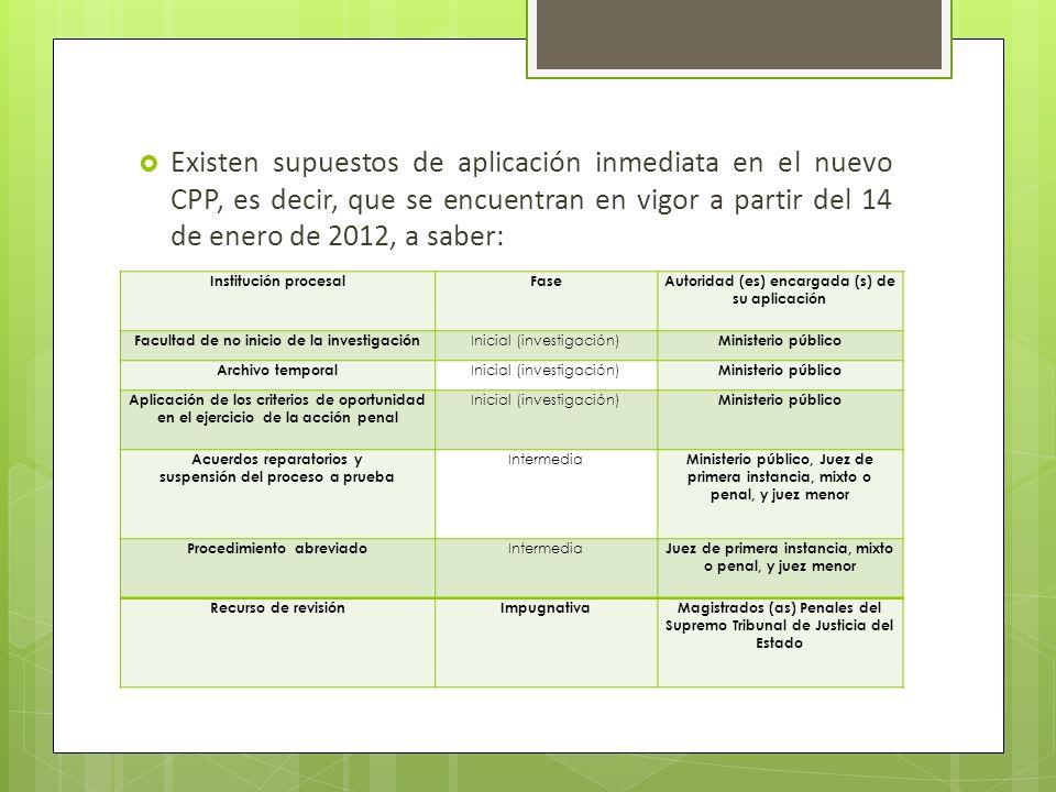 Existen supuestos de aplicación inmediata en el nuevo CPP, es decir, que se encuentran en vigor a partir del 14 de enero de 2012, a saber: Institución