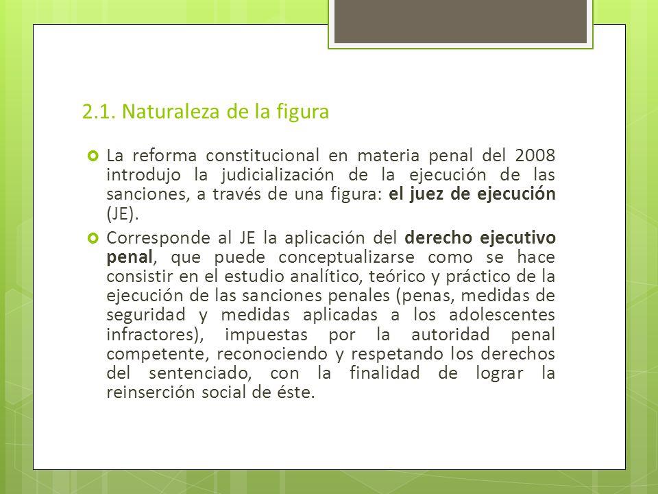 2.1. Naturaleza de la figura La reforma constitucional en materia penal del 2008 introdujo la judicialización de la ejecución de las sanciones, a trav