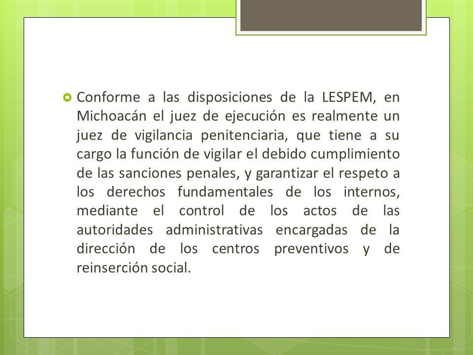 Conforme a las disposiciones de la LESPEM, en Michoacán el juez de ejecución es realmente un juez de vigilancia penitenciaria, que tiene a su cargo la