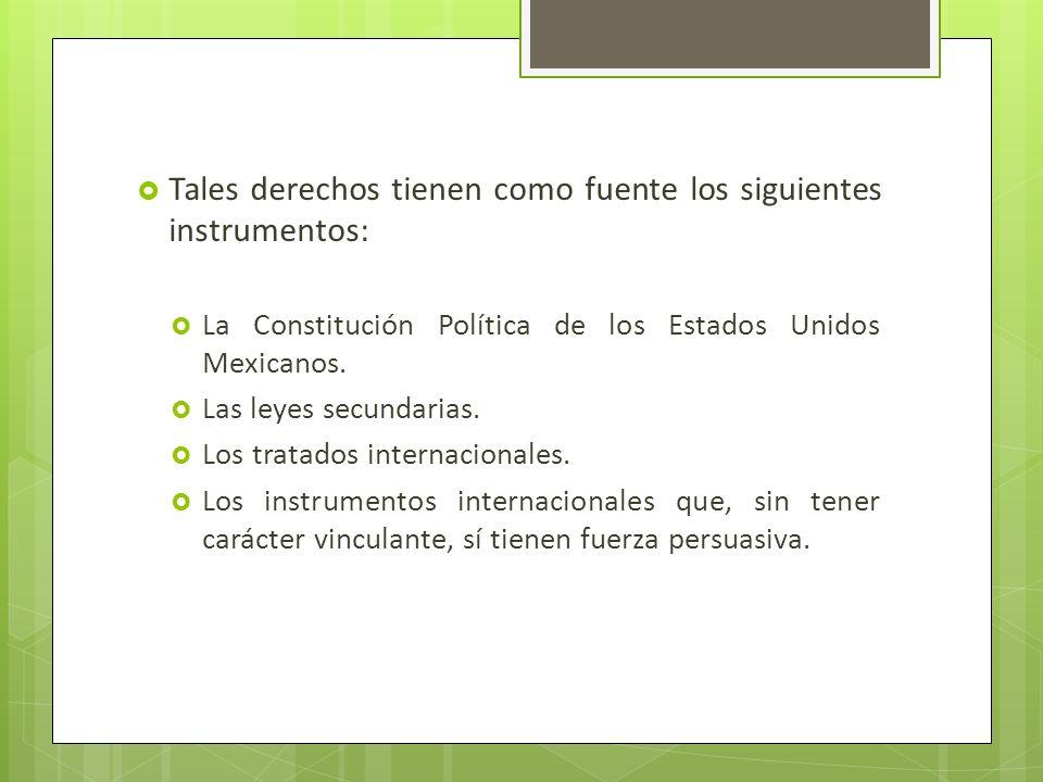 Tales derechos tienen como fuente los siguientes instrumentos: La Constitución Política de los Estados Unidos Mexicanos. Las leyes secundarias. Los tr