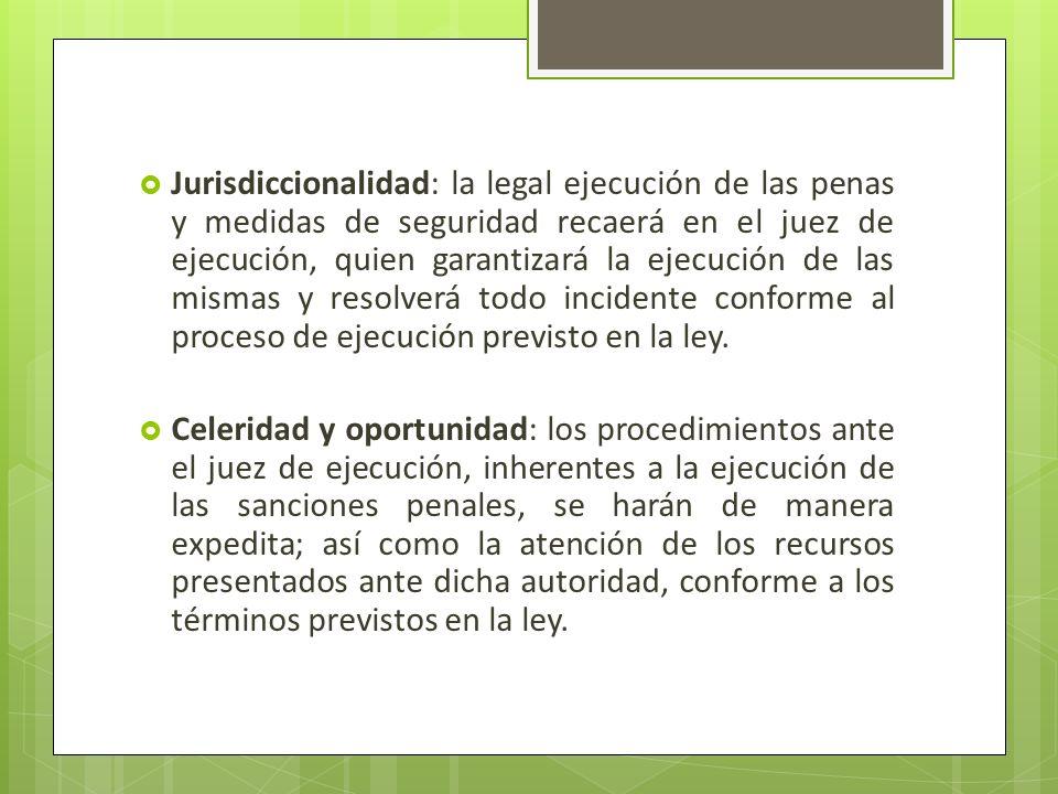 Jurisdiccionalidad: la legal ejecución de las penas y medidas de seguridad recaerá en el juez de ejecución, quien garantizará la ejecución de las mism
