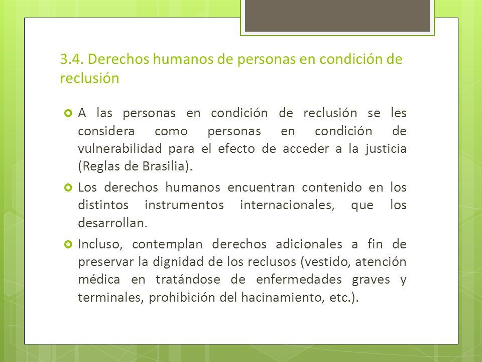 3.4. Derechos humanos de personas en condición de reclusión A las personas en condición de reclusión se les considera como personas en condición de vu