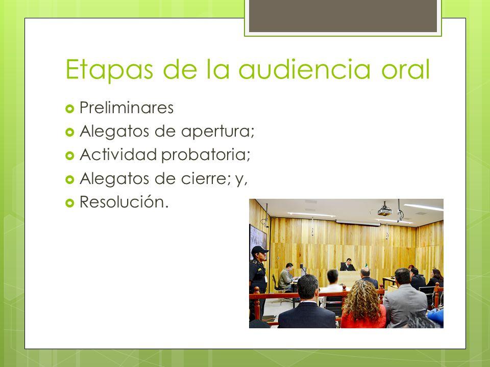 Etapas de la audiencia oral Preliminares Alegatos de apertura; Actividad probatoria; Alegatos de cierre; y, Resolución.